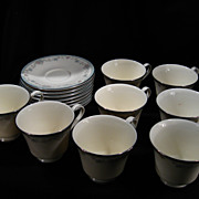 Set of 8 Royal Doulton Cups and Saucers, Rachel Pattern, Porcelain, Vintage