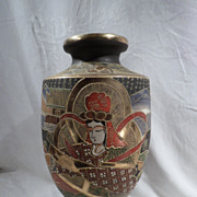 19th Century Japenese Satsuma Moriage Vase, Pottery, Antique, Authentic