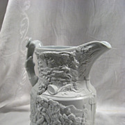English Parian Pitcher, Falstaff Scenes, Antique, Bisque, Stags, Hounds, King