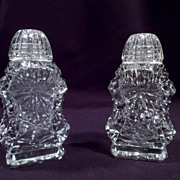 Scarce American Brilliant Period Salt and Pepper Shakers, Cut Crystal, Antique