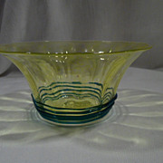 Rare Hand-made Optical Finger-bowl, Transparent Green, Blue-Green Winding, Antique