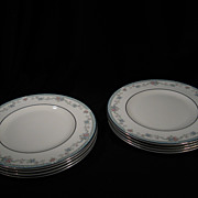 Set of 8 Royal Doulton Salad Plates, Rachel Pattern, Porcelain, Platinum Rims, Vintage