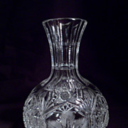 Antique American Brilliant Period Cut Crystal Carafe, Flower Pattern, Unusual, Richly Cut
