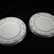 Set of 8 Bread and Butter Plates, Rachel Pattern, Porcelain, Platinum Rims, Vintage