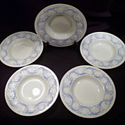 Set Five Wedgwood Porcelain Soup Bowls, Patrician Pattern, Blue and White, Hand-painted