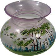 Ladies Spittoon, Vintage Czech Hand-painted, Circa 1930, Light Amethyst, Glass
