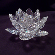Swarovski Medium Waterlily Candleholder, Faceted Petals, Vintage, Cut Crystal