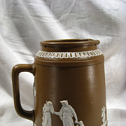 Antique Dudson Brothers. English Jasperware Pitcher, Brown, Classical, Stoneware
