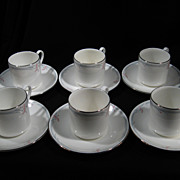 Set of 6 Royal Doulton Cups and Saucers, Carnation Pattern, Porcelain, Vintage