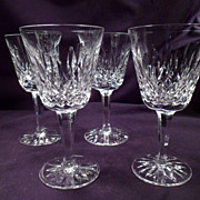 Four Waterford Lismore Red Wine, Claret Glasses, 8 More Available, Marked, Matching Cut Crysta