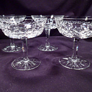 Set of Four Waterford Lismore Champagne, Dessert Glasses, 8 More Available, Marked