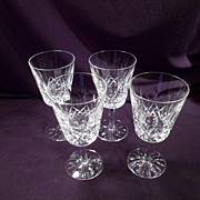 Set of 4 Waterford Lismore Goblets, 7 More Available, Glasses, Cut Crystal, Water, Large