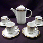 Demitasse Set, 10-Piece, Vintage, Bavarian, Gold Trim, Tirschenreuth, Porcelain, Marked