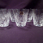 Whiskey, Juice Glasses, Cut Crystal, H + Z German, Label, High Quality, Vintage