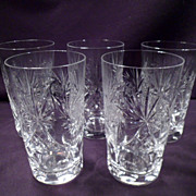 Set of 5 Cut Crystal Tumblers, Glasses, Vintage, Heavy