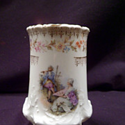 Vase, Circa 1900, C. Tielsch & Co., German, Courting Couple, Hand-Painted Porcelain