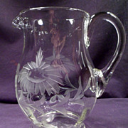 Pitcher, Optical, Handmade, Etched Floral Pattern, Applied Handle, Clear, Crystal