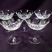 Set of 5 Cut Crystal Champagne, Dessert, Shrimp Cocktail Glasses, German, Vintage, H + Z