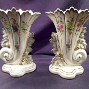 Pair of French Cornucopia Vases, Roses, Gold Trim, Porcelain, Leaves, Acorns