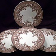Set of Four Spode Westbourne Dinner Plates, Williams-Sonoma, Brown Floral, Porcelain