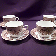 Set of Four Spode Westbourne Cups and Saucers, Porcelain, Brown, Williams-Sonoma