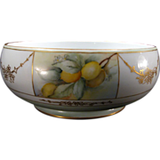 H.C. Royal Fruit-Themed Serving Bowl, Porcelain, Vintage, Lemons, Bavaria, Marked, c 1925