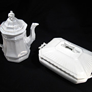 Set Wedgwood Porcelain Teapot & Covered Serving Dish, Ironstone, Stoneware, Marked, c1900