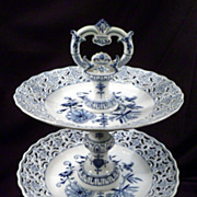 Meissen Blue Onion Crossed Swords Two-Tiered Canape Server, Porcelain, Hand-Painted, Vintage