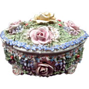 German Dresser Box, Porcelain, Elaborate Applied Floral Mult-Color, Circa 1900