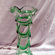 Art Glass Vase, Studio, Hand-Blown, Green, Clear, Draped, Tall