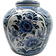 Delft Ginger Jar, Large, Hand-Painted, Blue Floral, Marked, Vintage, Ceramic