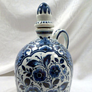 Delft Decanter, Ceramic, Rare, Marked, Oud Factory, Blue Floral, Vintage