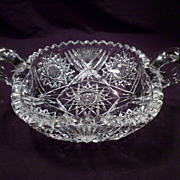 Nappy, Dish, Two-Handled, American Brilliant Period, Antique, Square, Cut Crystal, Glass