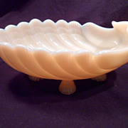 Cambridge Dish, Crown Tuscan, Pink Opaque, Seashell-Footed, Circa 1940, Vintage