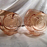 Pair of Fenton Pink Snail Art Glass Vases, Hand-Painted, Heron, Floral, Vintage
