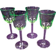 Four Vaseline Wine Glasses, Intense Chartreuse, Clear Stems, Vintage, Lime Green