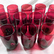 Set 12 Anchor Hocking Royal Ruby Tumblers, c 1950, Glasses, Red, Anchor Glass