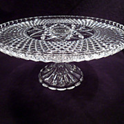 Cake Plate, Pedestal, Crystal, Clear, Glass, Ornate, Vintage, Diamond Point Pattern
