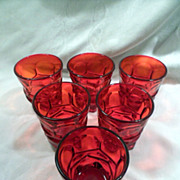 Tumblers, Fostoria Argus Ruby Red, Glasses, Vintage, 6 Smaller Available, HFM Marked