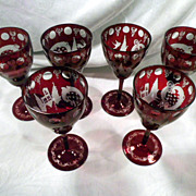 Set of Six Bohemian Egermann Goblets, Ruby Cut to Clear, Hand-Made, Antique, Cut Crystal