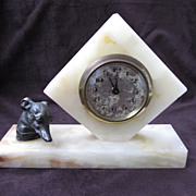 Lovely Antique Greyhound Dog Deco Clock