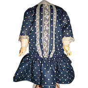 SALE Wonderful antique doll dropwaist dress in blue polka dots!