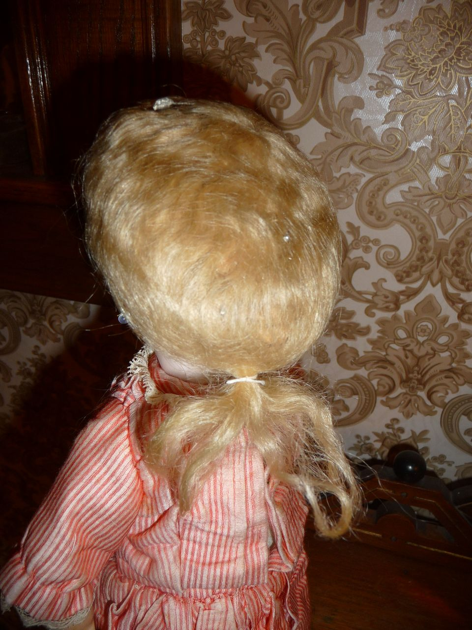 Super rare antique mohair french boy wig for doll