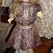 SALE Wow! Wonderful antique patterned silk doll dress