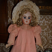 SALE Beautiful antique pink wool flannel doll dress