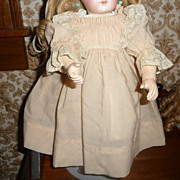 Charming antique pale pink wool dress for medium doll