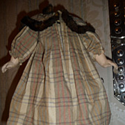 Charming antique wool doll dress with fur collar