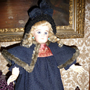 SALE Wonderful antique wool doll dress, cape and bonnet set