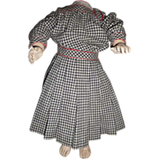 Darling antique gingham plaid school girl doll dress