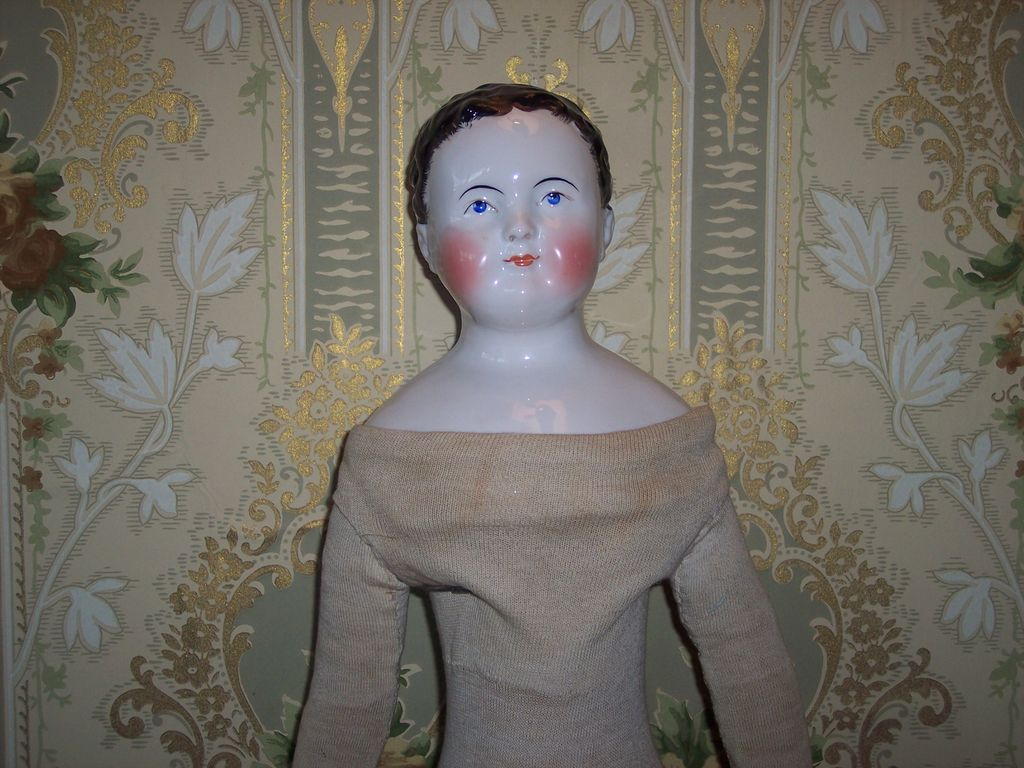 "Young Child China Doll - ""KINDERKOPF"" with Unusual Porcelain KINTZBACH Hands and Stockinette Body!"